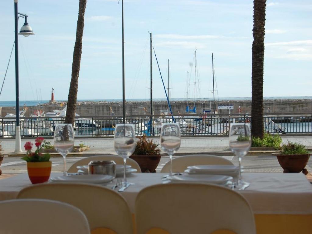 Terrassa de les Palmeres davant del port de Les Cases